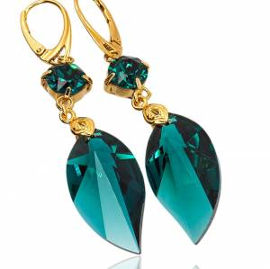 EARRINGS SWAROVSKI CRYSTALS *EMERALD LEAF* STERLING SILVER 24K GOLD PLATED (1)