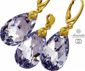NEW SWAROVSKI EARRINGS PENDANT COMET GOLD PLATED STERLING SILVER
