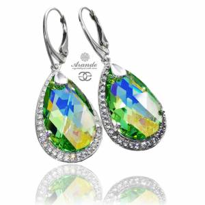 SWAROVSKI UNIQUE EARRINGS PERIDOT ENCANTE  STERLING SILVER