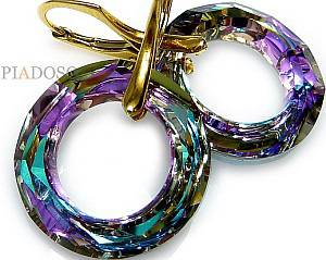 SWAROVSKI CRYSTALS *VITRAIL RING* EARRINGS GOLD PLATED STERLING SILVER 925