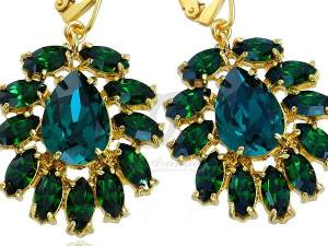 SWAROVSKI UNIQUE EARRINGS AZURE EMERALD GOLD PLATED STERLING SILVER