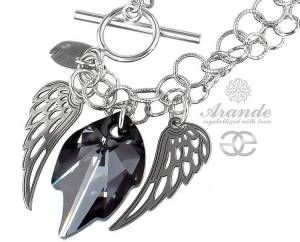 SWAROVSKI BEAUTIFUL NECKLACE NIGHT ANGEL WING STERLING SILVER 925