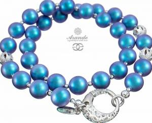 SWAROVSKI DECORATIVE NECKLACE PEARL LIGHT BLUE FANTASIA STERLING SILVER 925