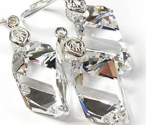 SWAROVSKI UNIQUE EARRINGS PENDANT CHAIN CRYSTAL CUBIC STERLING SILVER