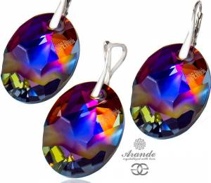 SWAROVSKI EARRINGS PENDANT VOLCANO JEAN PAUL GAULTIER STERLING SILVER
