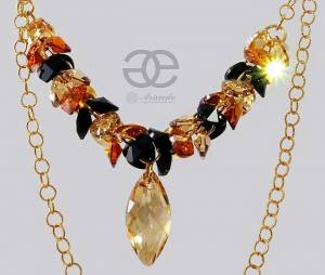GOLDEN NAWI NECKLACE SWAROVSKI CRYSTALS SILVER