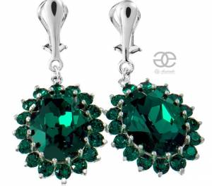 SWAROVSKI KATE'S EARRINGS *ROYAL EMERALD* STERLING SILVER 925