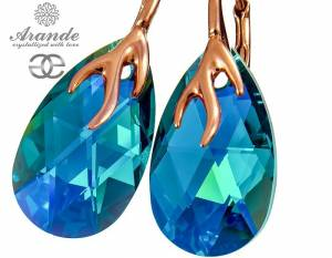 SWAROVSKI DECORATIVE EARRINGS BLUE ZIRCON ROSE GOLD SILVER