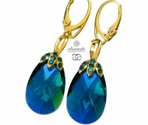 SWAROVSKI SPECIAL EARRINGS EMERALD GOLD PLATED SILVER