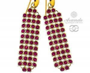 SWAROVSKI GENUINE EARRINGS *RUBY CRYSTALLIZED* GOLD PLATED STERLING SILVER