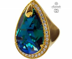 SWAROVSKI SPECIAL RING EMERALD ENCANTE GOLD PLATED STERLING SILVER