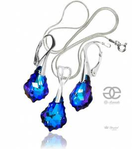 SWAROVSKI UNIQUE EARRINGS+PENDANT BAROQUE STERLING SILVER