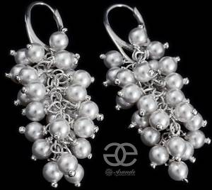 SWAROVSKI UNIQUE WEDDING EARRINGS WHITE PEARLS STERLING SILVER 925