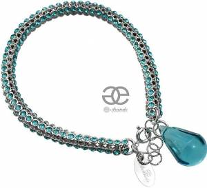 NEW UNIQUE BRACELET SWAROVSKI CRYSTALS *TURQUOISE* SILVER 925 CERTIFICATE