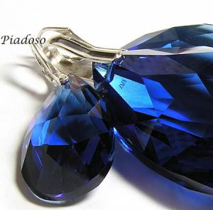 EARRINGS+PENDANT SWAROVSKI CRYSTALS *SAPPHIRE 28+50* HANDMADE STERLING SILVER