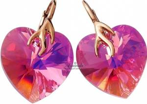 NEW! SWAROVSKI CRYSTALS HEART EARRINGS ROSE GOLD SILVER 925 CERTIFICATE