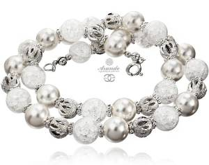 CRYSTAL WHITE NECKLACE NEW BEAUTIFUL SWAROVSKI PEARL (1)