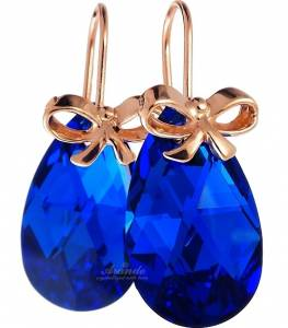 SWAROVSKI BLUE COMET EARRINGS ROSE GOLD SILVER 925 CERTIFICATE