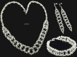 SWAROVSKI CRYSTALS WEDDING CRYSTAL JEWELLERY SET STERLING SILVER