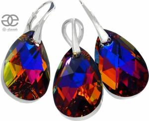 NEW SWAROVSKI CRYSTALS EARRINGS PENDANT VOLCANO STERLING SILVER 925
