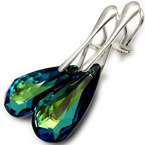 EARRINGS CLIPS SWAROVSKI CRYSTALS *BERMUDA BLUE* STERLING SILVER 925 CERTIFICATE
