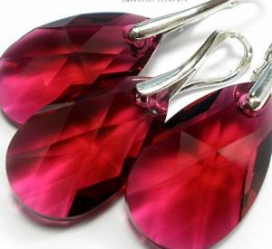 EARRINGS+PENDANT SWAROVSKI CRYSTALS *RUBY* STERLING SILVER CERTIFICATE