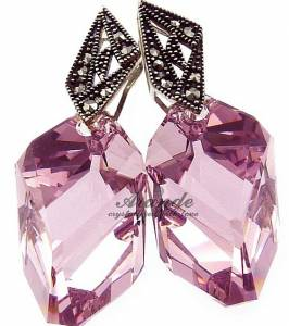 AMETHYST ARTE UNIQUE EARRINGS SWAROVSKI CRYSTALS