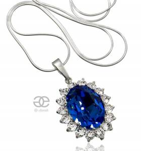 KATE NECKLACE SWAROVSKI CRYSTALS *ROYAL BLUE* STERLING SILVER 925 CERTIFICATE