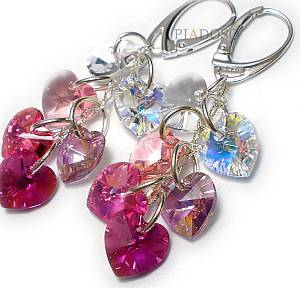 SWAROVSKI CRYSTALS HEART MIX EARRINGS STERLING SILVER CERTIFICATE