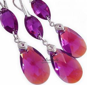 FUCHSIA GLOSS EARRINGS+PENDANT SWAROVSKI CRYSTALS
