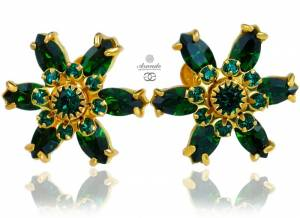 SWAROVSKI UNIQUE EARRINGS EMERALD AZURE FLOW GOLD PLATED