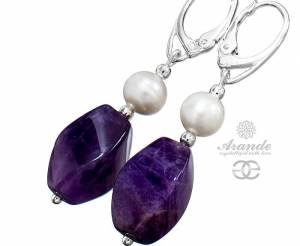 BEAUTIFUL EARRINGS WITH NATURAL AMETHYST AND GENUINE PEARLS STERLING SILVER