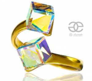 SWAROVSKI CRYSTALS *AURORA RING* STERLING SILVER 24K GOLD PLATED