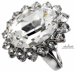 KATE RING SWAROVSKI CRYSTALS *ROYAL CRYSTAL* STERLING SILVER 925 CERTIFICATE