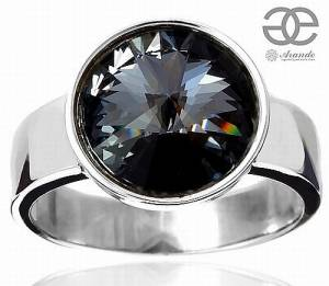 SWAROVSKI CRYSTAL *SILVER NIGHT PARIS* BEAUTIFUL RING STERLING SILVER 925