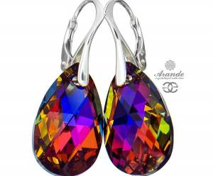 NEW SWAROVSKI CRYSTALS LARGE EARRINGS VOLCANO STERLING SILVER 925
