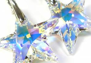 SWAROVSKI SILVER EARRINGS CRYSTAL AB STAR STERLING SILVER HANDMADE
