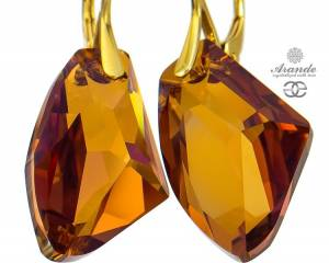 SWAROVSKI UNIQUE EARRINGS COPPER GALACTIC GOLD PLATED STERLING SILVER