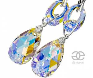 SWAROVSKI EARRINGS *AURORA BLOSSOM* STERLING SILVER 925 CERTIFICATE