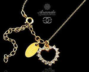 SWAROVSKI NECKLACE CRYSTAL HEART GOLD PLATED SILVER