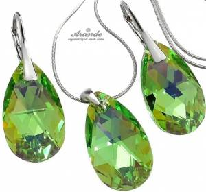 SWAROVSKI CRYSTALS *PERIDOT* EARRINGS+NECKLACE+CHAIN STERLING SILVER 925