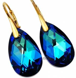 EARRINGS SWAROVSKI CRYSTALS BERMUDA BLUE GOLD PLATED STERLING SILVER CERTIFICATE