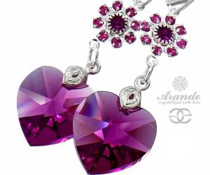 SWAROVSKI EARRINGS FUCHSIA FEEL STERLING SILVER 925