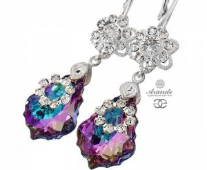 SWAROVSKI UNIQUE BEAUTIFUL EARRINGS VITRAIL ORCHIDEA STERLING SILVER 925