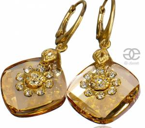 SWAROVSKI EARRINGS METRO FLOW GOLD PLATED STERLING SILVER