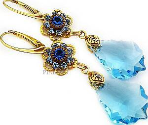 SWAROVSKI *AQUA FEEL GOLD* EARRINGS 24K GP STERLING SILVER