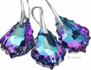 SWAROVSKI BEAUTIFUL EARRINGS PENDANT BAROQUE VITRAIL STERLING SILVER 925