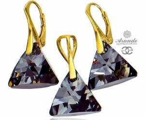 NEW SWAROVSKI BEAUTIFUL EARRINGS PENDANT NIGHT TRIO GOLD PLATED STERLING SILVER