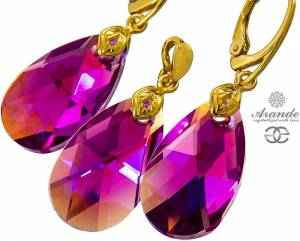 NEW SWAROVSKI EARRINGS PENDANT FUCHSIA GOLD PLATED STERLING SILVER