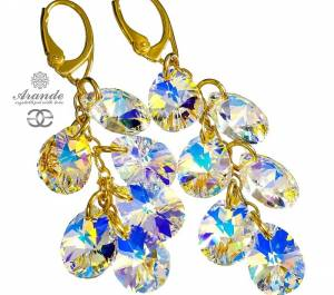 SWAROVSKI LONG EARRINGS AURORA GOLD PLATED STERLING SILVER